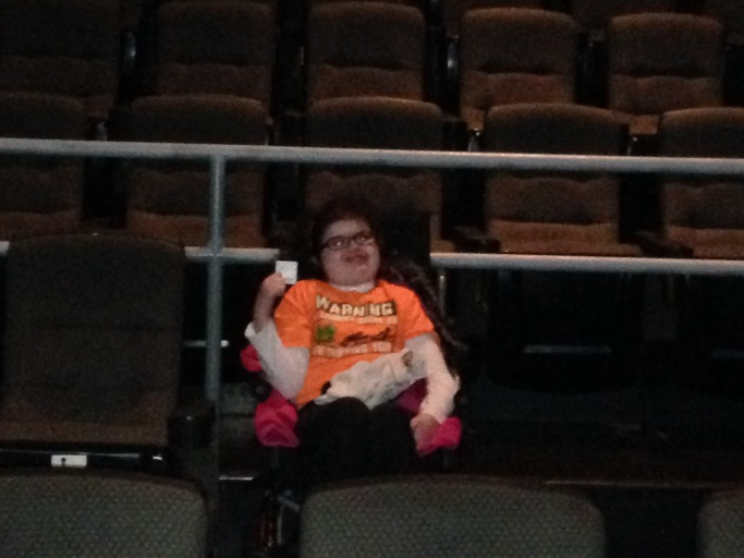 "My daughter waiting patiently for ""Goosebumps"" to start! Which was awesome horror fans!"